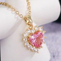 Mode 18k Gold Überzogene Rosa Zirkon Liebe Herz Kette Anhänger Halskette Für Frauen Partei Schmuck Valentines Geschenk