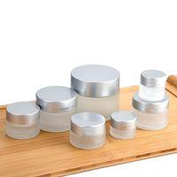 5 10 15 20 30 50 100g ml Envase de botella de frasco de crema cosmética de vidrio helado recargable con tapas de aluminio plateado