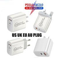 18 W 20 W 3A PD Tip-C QC3.0 USB Hızlı Şarj Telefonu ABD İNGILTERE AB AU Fiş Adaptörü Duvar Chargers iphone 12 Pro Samsung OnePlus HTC Xiaomi AFC FCP