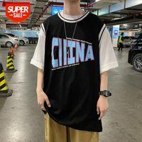 가짜 두 개의 반팔 티셔츠 남성 여름 일본 조수 브랜드 트렌드 느슨한 편지 힙합 5 포인트 슬리브 농구 유니폼 COM # 0R5V