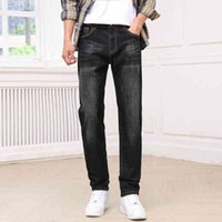 Jeans 2021 Spring Men's Classic Blue Black Black Slim-Fit Jeans Algodón Elástico Elástico Fit Denim Pantalones Masculinos Marca Pantalones