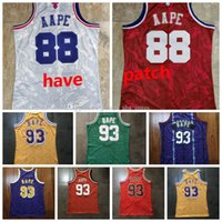 Hommes 93 BapexMitchell Ness Vert Violet Jaune Jersey Basketball Jersey1982-83 Classics Jersey Double-brodé Jeunesse Authentic Stitch 88AAPT 1988 All-Star S-2XL 02