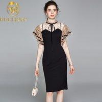 2021 взлетно-посадочная полоса летом карандаш платье высокого качества женщин сетчатая волна точка пэчворк черный стенд воротник купальника Bodycon одеваются