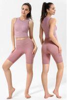 Lu Lulu Yoga Kolsuz Nervürlü Fitness Giyim Tankları T-shirt Yelek Gömlek Kadın Spor Streç Sıkı Dış Iç Çamaşırı Açık Giysiler 38 KJ #