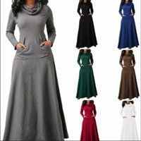 Casual Dresses Women Autumn Plus Size 5XL Maxi Dress A Line Pocket Turtleneck Long Sleeve Winter Solid Grey Black Red Fall Robe