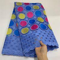 5 Yard Swiss Lace Stoff 2021 Neueste Trockenspitze Stickerei Afrikaner 100% Baumwolle Fabrics Swiss Voile Lace Beliebte Dubai! Lgm32506.