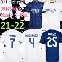 2021 2022 Boyut: S-4XL Oyuncu Hayranları Gerçek Madrid Futbol Forması 21 22 Alaba Tehlike Sergio Ramos Benzema Asensio Modric Marcelo Yama Futbol Gömlek Camiseta Erkekler + Çocuklar