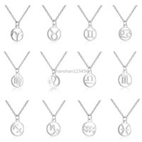 12 Constell Pendant Necklace Silver Gold Stainless Steel Zodiac Horoscope Sign Necklaces Chains for Women Fashion Jewelry Will and Sandy Virgo Libra Taurus Gemini