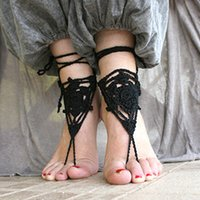 Senem Black Barefoot Sandalen, Lase häkeln barfuß sanles, punk, yoga nackt schuhe, bauchtanz, anklet schmuck