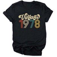 T-shirt das mulheres vintage 1978 mulheres camiseta 43rd festa de aniversário mulher roupas o pescoço de manga curta estética moda tops Tee gota