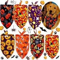 Hundebekleidung Polyester Hunde Bandana Katze Dreieck Lätzchen Welpe Schal Halstuch Kürbis Schädel Muster Halloween Pet Supplies XBJK2106
