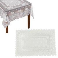 Розовый цветочный узор кружева кромки прямоугольной скатерти 152x228см (белый) столовая ткань