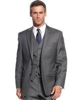 Gri Rahat Erkekler Düğün Smokin Resmi Özel Online Üç Parça Dışında Güz İş Ofis Takım Elbise Parti (Ceket + Pantolon + Yelek) erkek Blazer
