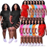 Summer Women Plus Size Sports Tracksuits Two Pieces Pants Outfits Short Sleeve T-Shirt Hollow Out Kink Shorts Elastic Casual Jogging Suits