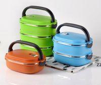 Boîte à lunch isolée en acier inoxydable en acier inoxydable de la boîte à lunch carré isolé Cadeau de préservation bol double déjeuner hwb10124