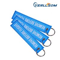 High Quality 400pcs lot High Quality Custom Woven Keychain 130*30mm Pms Color Merrowed Border with Personal Y20053163 H0915