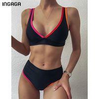 Ingaga Sexy Bikinis Женские купальники Черные Купальники Push Up Bequini High Beathing Beathing Brazilian Beachwear V-образным вырезом 2021