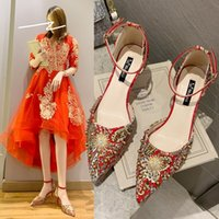 Luxury Dress Shoes Female 2021 One Line Red High Heels Bride Chine Drs Wedding Xiuhe Sho
