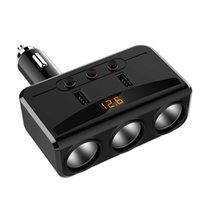 Yantu Universal Auto USB Sigarettenaansteker Socket Splitter 12V-24V Power Adapter MAX 5V 3.1A 3 USB-autolader met Voltmeter LCD-auto