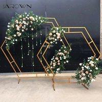 Fleurs décoratives guidons jarniques en fer forgé arc hexagonal cadre cadre de mariage fond fleur décoration maison décoration