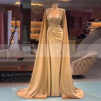 Luxury Gold Formal Evening Dresses With Cape Crystal Beaded Long Sleeves Ruched Satin Robe de mariée Mermaid Prom Party Gowns Custom Made