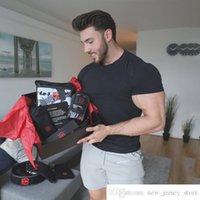 Abiti da allenamento muscolari personalizzati di marca Abbigliamento da uomo Abbigliamento da uomo a maniche corte Tops Top Aumento Indossare Cotton Collo Round Collo Light Board Solido Colore Sport T-shirt Stretch