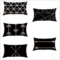 Rectángulo geometría pintura lino algodón funda de almohada cojín tirar una funda de almohada para la cama de sofá cama decoración del hogar # 700 cojín / decorativo
