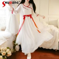 Casual Dresses Oriental Traditional Chinese Hanfu Dress For Women Solid White Plus Size Chiffon Folk Dance Costumes Vintage Tang Suit Two-Pi