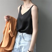 Women's Tanks & Camis Limiguyue Women Satin Tops Casual Solid Cami Top Loose Spaghetti Strap Vest V-neck Camisole Summer Fashion Sexy Tees S