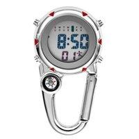 디지털 등반 포켓 시계 클립 온 배낭 카라비너 남자 나침반 온도 주간 디스플레이 등산 야외 스포츠