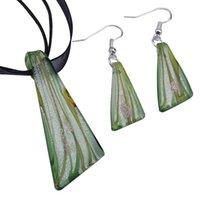 Pendenti in vetro di Murano Pendenti Silver Foil Lampwork Pendant Collane soffiate e orecchini Set di gioielli di moda in Bulk Mus015 636 Q2