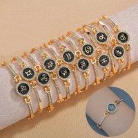 Fashion Rhinestone 12 Zodiac Constellation Bracelets Micro Pave Shiny Zircon Womens Couple Fashion Jewelry Valentine's Day Gift