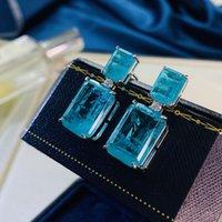 Dangle & Chandelier 100% Sterling Silver Paraiba Tourmaline Gemstone Drop Earrings For Women Cocktail Party Fine Jewelry Accessories