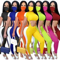 Women's Tracksuits QYQ Suspender Leggings Short Waist Top Fashion Suit + Mask Included Two Piece Outfits For Women Biker Shorts Set