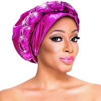 African Turbans Caps Braid Treccia con diamanti Pianura Inner Hijab 2021 Moda Auto Gels Aso Oke Testa avvolgibile Abbigliamento etnico