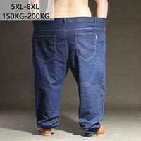 150kg-300kg Große Größe Jeans Blue Herren Plus Gerade Hosen Stretch Elastische Taille Lose Fünder-Hosen 8xl 7xl 6xl