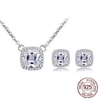 2pcs Pack 100% 925 Sterling Silver jewelry set princess cut zircon Stud Earrings and Necklace pendant wedding gifts T-001