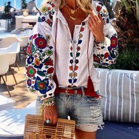 Fashion Women Floral Print Lantern Sleeve Blouse Bohemian Style Embroidery V-Neck Long Trends Spring Fall Shirt Women's Blouses & Shirts