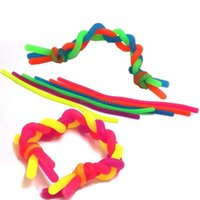 US stock Fidget Decompression Rope DIY Noodle Ropes Sensory Toys Kids Adult Fidget Abreact Flexible Glue Ropes Stretchy String Neon Slings