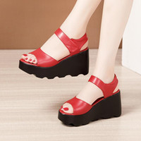 Dress Shoes Small Plus Size 32 33-43 Chunky Platform Wedges Sandals Summer 2021 Office Daily High Heels Red For Wedding Party