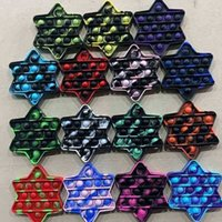 100 teile / dhl sternform fidget schieben pop blase popper sensory tie farbe tarnblasen brust poo-ihre finger puzzle tiktok dekompression squeeze toys g6279vp