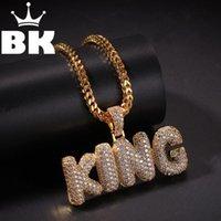 Kral Özel Kabarcık İlk Harfler CZ Kolye Kolye Hip Hop Tam Buzlu Kübik Zirkonya Altın Şerit Taş Kolye