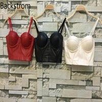 Backstrom Женское нижнее белье Intimates Tube Tops для женщины из искусственной кожи Brale высокое качество Cool Black Bustier Brar Corset Top Bustiers Co