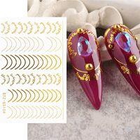 8 estilos 3d rosa ouro adesivos de metal listra linhas letras decalques curva pregos de arte Sliders adesivos decorações manicure