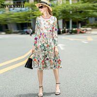 Svoryxiu модный дизайнер осень зимнее платье женский с длинным рукавом о-образным вырезом животных цветок принция винтаж MIDI Vestdios повседневные платья