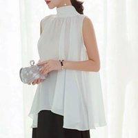 Korean Japanese Style White Black Blouse Chic New Women's Elegant Turtleneck Swing Chiffon Shirt Sleeveless Pullover Tops