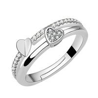 Korean Double Heart 925 Sterling Silver Ring Women's Adjustable Wedding Fashion Inlaid Band Rings