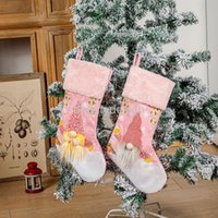 Christmas Decorations Lovely Stocking Sparkly Ornament With Lights Pink Glowing Socks Luminous Pendant Decor DD