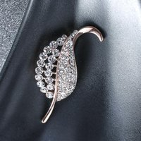 Dainty Female White Zircon Stone Brooch Rose Gold Silver Color Jewelry Brooches For Women Cute Leaf Pin Dress Coat Accessories Pins,