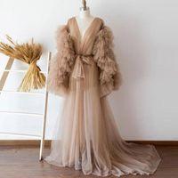 샴페인 Tulle 출산 여성 드레스를 통해 ruffles tiered 긴 소매 완전 가운 드레스 신부 캐주얼